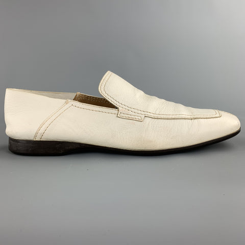 PRADA Size 10.5 White Leather Split Toe Loafers