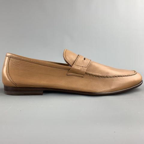 HARRYS OF LONDON Size 11.5 Tan Leather Slip On Loafers