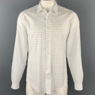 LOUIS VUITTON Size XL White Print Cotton Button Up Long Sleeve Shirt