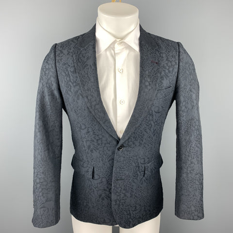 PAUL SMITH Size 36 Dark Gray Jacquard Cotton / Polyester Sport Coat