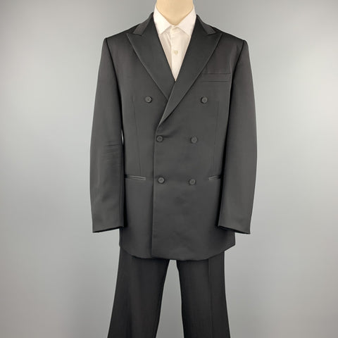 VALENTINO Size 46 Long Black Wool Peak Lapel Double Breasted Tuxedo