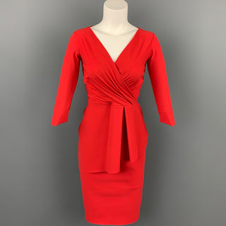 CHIARA BONI Size 4 Red Polyamide Peplum V-Neck Cocktail Dress