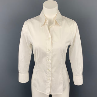 CAROLINA HERRERA Size 2 White Stretch Classic Blouse