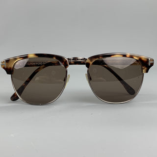 TOM FORD Tortoiseshell Brown Metal & Acetate Wayfarer Sunglasses