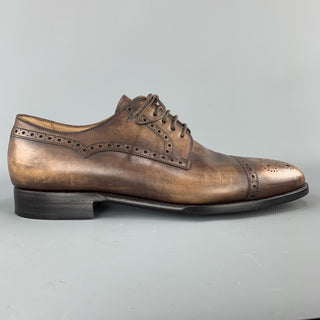 KITON Size 9 Brown Antique Effect Leather Cap Toe Lace Up Brogues