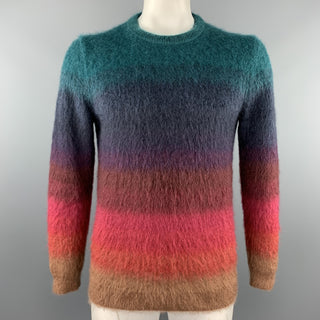 PAUL SMITH Size L Multi-Color Textured Mohair Blend Crew-Neck Sweater