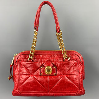 MARC JACOBS Red Quilted  Leather Chain Link Top Handles Handbag
