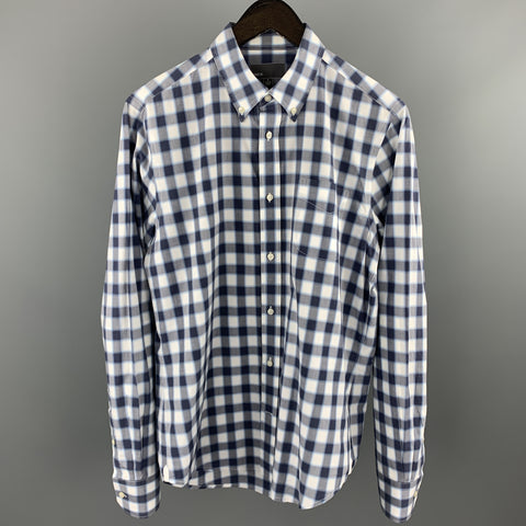 VINCE Size M Navy & Gray Plaid Cotton Button Down Long Sleeve Shirt