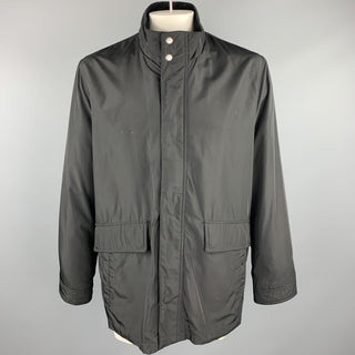 COLE HAAN L Black Polyester Zip & Snaps Jacket