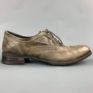 N.D.C. Size 9 Taupe Distressed Leather Lace Up Brogues