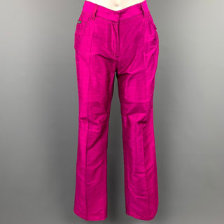 DOLCE & GABBANA Size 4 Fuchsia Silk High Waisted Dress Pants