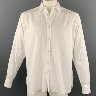 ADAM KIMMEL Size L White Cotton Button Up Long Sleeve Shirt
