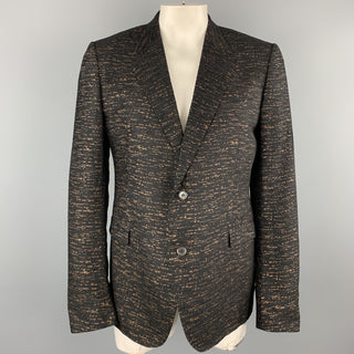 LANVIN Black & Copper Heather Textured Notch Lapel Sport Coat