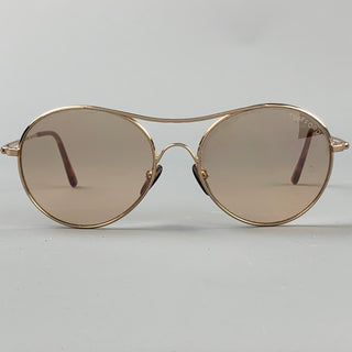 TOM FORD Gold Tone Metal Round Sunglasses