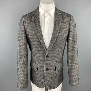 NY BASED Size S Grey & Black Herringbone Cotton / Wool Sport Coat