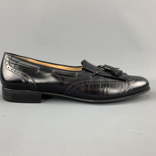 SALVATORE FERRAGAMO Size 11.5 Black Leather Eyelash Tassel Loafers