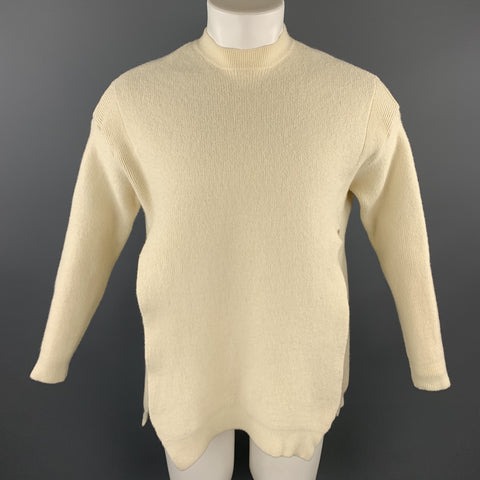 FREAK'S STORE Size S Cream Ribbed Wool / Cotton Slit Sides Crew-Neck Sweater