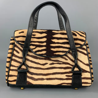 VAUGHN Brown & Beige Zebra Pony Hair Top Handles Handbag