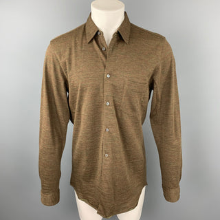 COMME des GARCONS SHIRT Size L Olive Donegal Wool SLong Sleeve Shirt