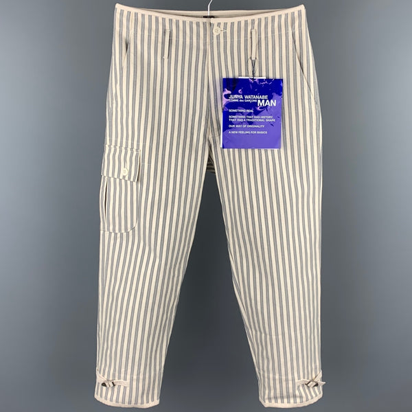 JUNYA WATANABE Size S Beige & Grey Vertical Stripe Cotton Casual Pants