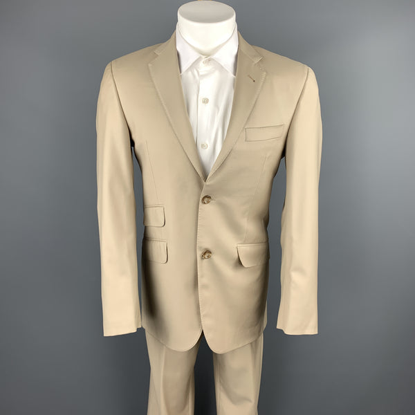 BURBERRY LONDON Size 36 Solid Tan Wool Notch Lapel Suit