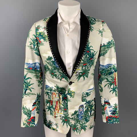 R13 Ivory Print Silk / Cotton Studded Shawl Collar Sport Coat
