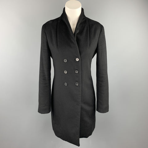JIL SANDER Size 4 Black Cashmere Blend Double Breasted Coat