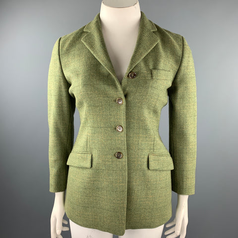 LUCIANO BARBERA Size 10 Green Windowpane Tweed Notch Lapel Jacket