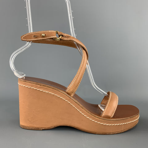 RALPH LAUREN Size 9.5 Tan Leather Contrast Stitch Platform Wedge Sandals