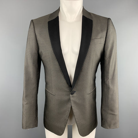 VALENTINO Size 38 Geometric Black & Gold Silk Shawl Collar Sport Coat
