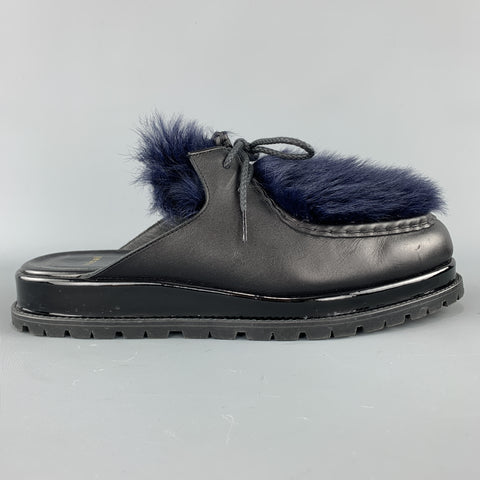 SACAI Black Leather & Blue Fur Slip On Loafer Slides