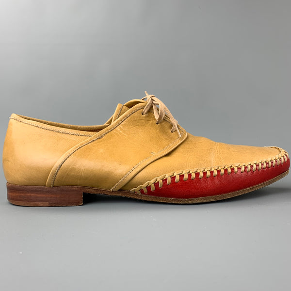 DRIES VAN NOTEN Size 10 Tan Leather Red Trim Square Toe Lace Up Shoes