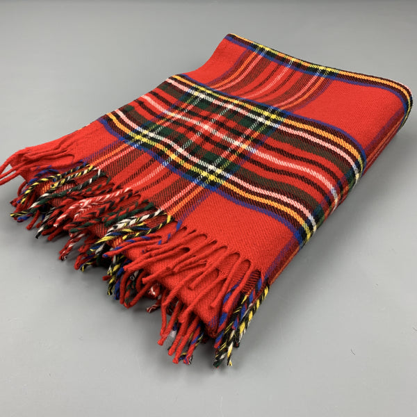 FARIBAULT Plaid Red Wool Fringe Throw