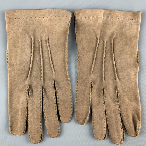 VINTAGE Size S Taupe Suede Gloves