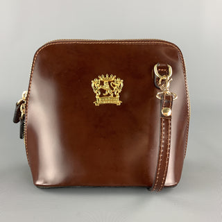 PRATESI Brown Leather Mini Gold Zipper & Plaque Square Crossbody Bag