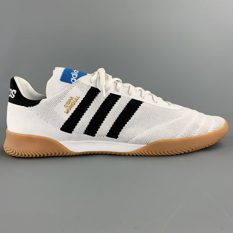 ADIDAS Size 12 White & Black Stripe Fabric Lace Up Sneakers