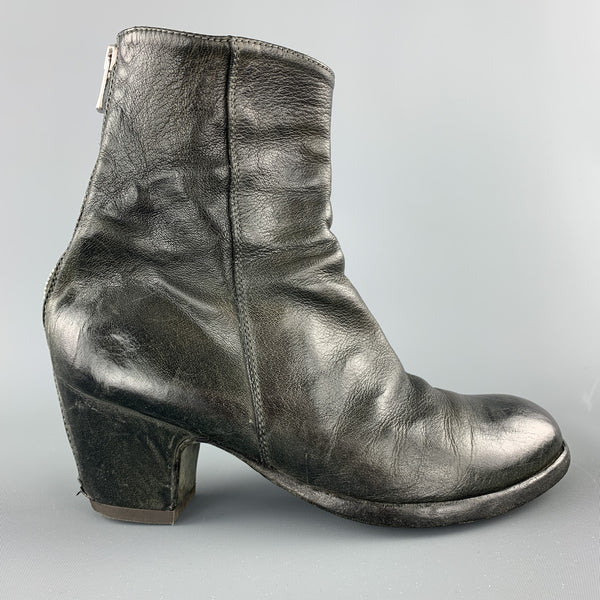 OFFICINE CREATIVE Size 6 Black Distressed Leather Back Zip Heeled Boots
