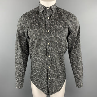 RALPH LAUREN BLACK LABEL Size S Black & White Floral Print Cotton Shirt