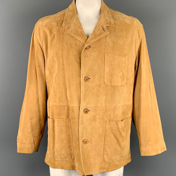 ERMENEGILDO ZEGNA Size 44 Tan Suede Notch Lapel Jacket