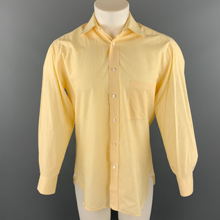 BORRELLI Size M Yellow Pinstripe Cotton Button Up Long Sleeve Shirt