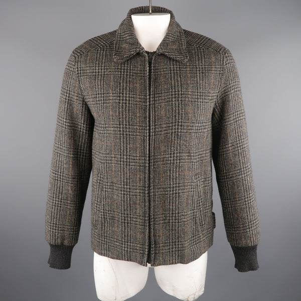 MARC JACOBS 42 Grey & Black Plaid Wool Bomber Jacket