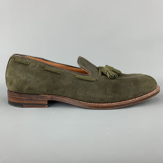ALDEN x UNIONMADE Size 11.5 Olive Solid Tassels Loafers