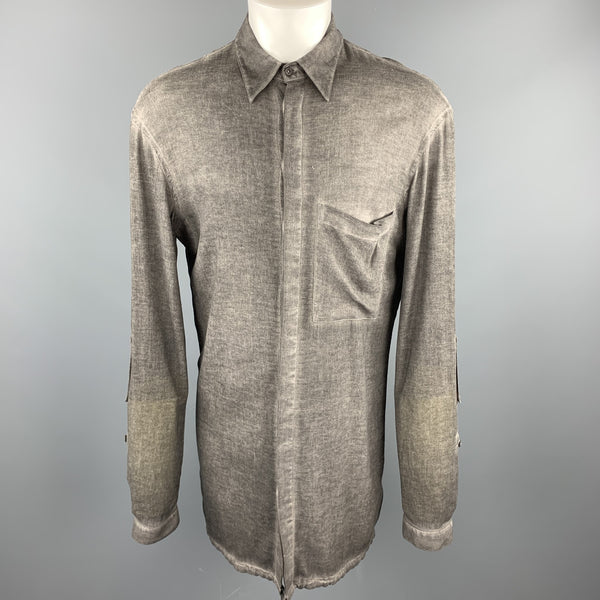 ALEXANDRE PLOKHOV Size S Dark Gray Dyed Cotton Button Up Long Sleeve Shirt