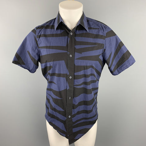 BURBERRY PRORSUM Size M Navy & Black Print Cotton Button Up Short Sleeve Shirt