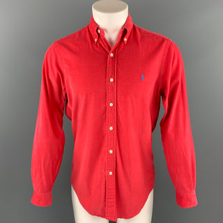 RALPH LAUREN Size S Red Corduroy Button Down Long Sleeve Shirt