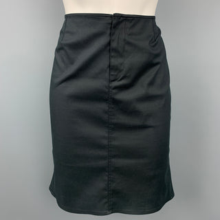 PRADA Size 2 Black Cotton Blend Flounce Skirt