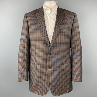 ERMENEGILDO ZEGNA Trofeo Light Size XXL Brown & Blue Checkered Wool Sport Coat