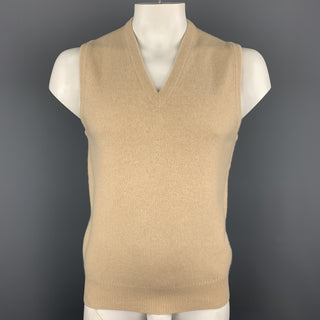 BALLANTYNE Size XL Khaki Knitted Cashmere V-Neck Sweater Vest