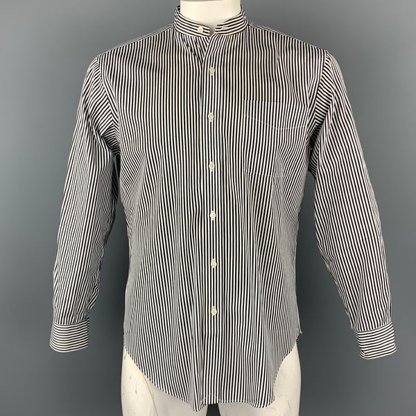 RALPH LAUREN Size M Black & White Stripe Cotton Nehru Collar Shirt