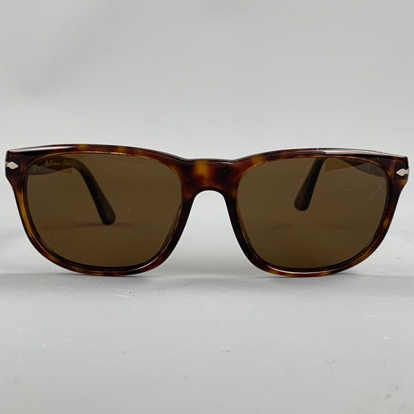 PERSOL Brown Tortoise Acetate Rectangle Sunglasses